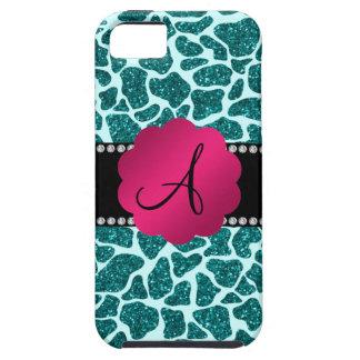 Monogram turquoise glitter giraffe print iPhone 5 cases