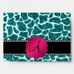 Monogram turquoise glitter giraffe print envelopes
