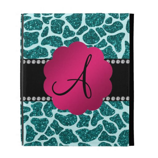 Monogram turquoise glitter giraffe print iPad case