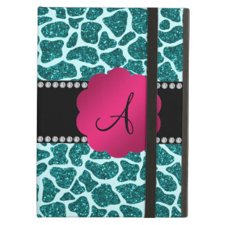 Monogram turquoise glitter giraffe print iPad cover