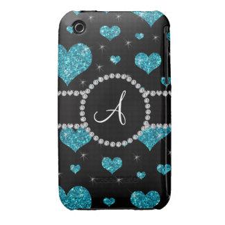 Monogram turquoise glitter hearts black diamonds iPhone 3 cover
