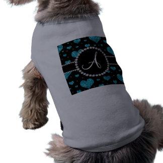 Monogram turquoise glitter hearts black diamonds dog clothing