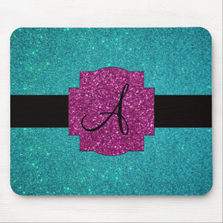 Monogram turquoise glitter mouse pad