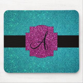 Monogram turquoise glitter mouse pad