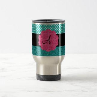 Monogram turquoise glitter mugs