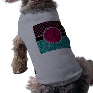 Monogram turquoise glitter pink black dots dog tee shirt