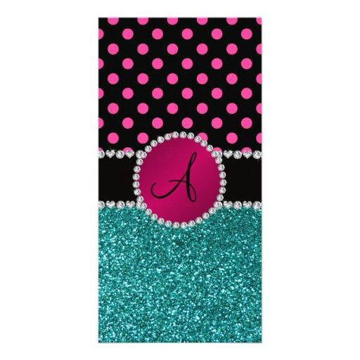 Monogram turquoise glitter pink black dots photo cards