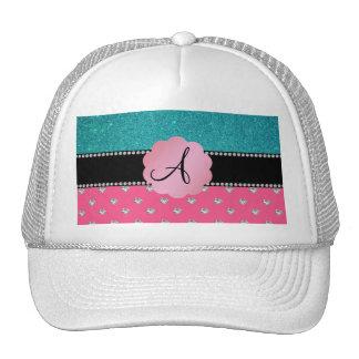Monogram turquoise glitter pink heart diamonds hats