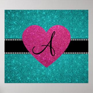 Monogram turquoise glitter pink heart poster
