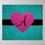 Monogram turquoise glitter pink heart print