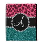 Monogram turquoise glitter pink leopard iPad folio case