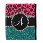Monogram turquoise glitter pink leopard iPad case