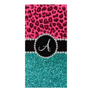 Monogram turquoise glitter pink leopard photo greeting card