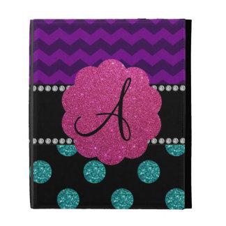 Monogram turquoise glitter polka dots iPad folio cases