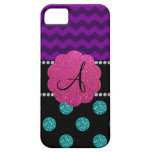 Monogram turquoise glitter polka dots iPhone 5 cases