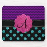 Monogram turquoise glitter polka dots mouse pad