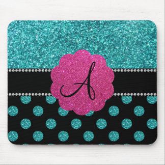 Monogram turquoise glitter polka dots mouse pad