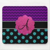Monogram turquoise glitter polka dots mousepads