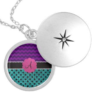 Monogram turquoise glitter polka dots purple zig round locket necklace