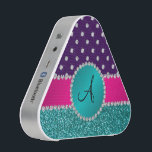 """Monogram turquoise glitter purple diamonds bluetooth speaker<br><div class=""""desc"""">Glitter gift ideas. Modern, chic and trendy Turquoise/aqua/teal glitter (not real glitter) with with girly turquoise diamond encrusted circle (faux not real diamonds) and bling pretty pink diamonds stripe ( not real diamonds) dots and hearts, purple diamond polka dots pattern and monogram letter change to any letter a, b, c,...</div>"""