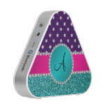 Monogram turquoise glitter purple diamonds bluetooth speaker<br><div class='desc'>Glitter gift ideas. Modern, chic and trendy Turquoise/aqua/teal glitter (not real glitter) with with girly turquoise diamond encrusted circle (faux not real diamonds) and bling pretty pink diamonds stripe ( not real diamonds) dots and hearts, purple diamond polka dots pattern and monogram letter change to any letter a, b, c,...</div>