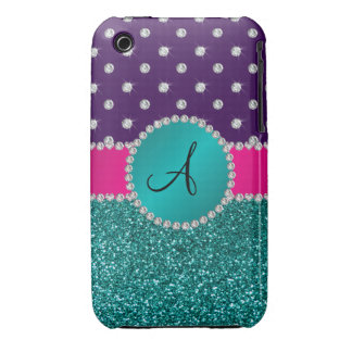 Monogram turquoise glitter purple diamonds iPhone 3 cases