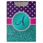 Monogram turquoise glitter purple diamonds clipboards
