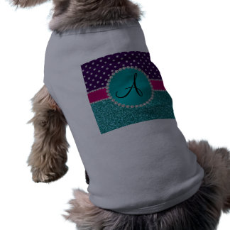 Monogram turquoise glitter purple diamonds doggie tee shirt