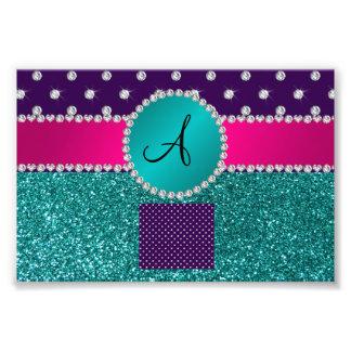 Monogram turquoise glitter purple diamonds photograph