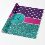 Monogram turquoise glitter purple diamonds gift wrap