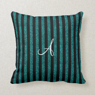 Monogram turquoise glitter stripes throw pillows