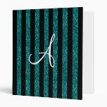Monogram turquoise glitter stripes vinyl binder