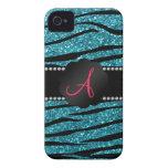 Monogram turquoise glitter zebra stripes iPhone 4 Case-Mate case