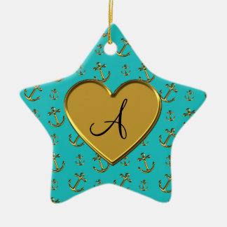 Monogram turquoise gold anchors heart Double-Sided star ceramic christmas ornament