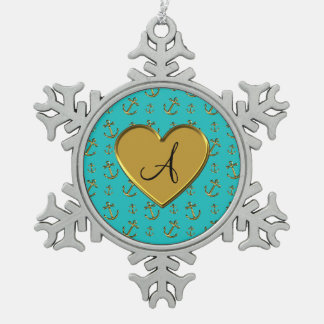 Monogram turquoise gold anchors heart snowflake pewter christmas ornament