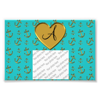 Monogram turquoise gold anchors heart photo print
