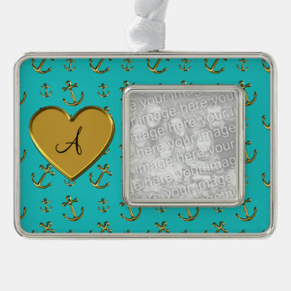 Monogram turquoise gold anchors heart silver plated framed ornament