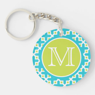 Monogram Turquoise & Green Cross Section Pattern Double-Sided Round Acrylic Keychain