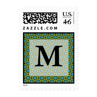 Monogram Turquoise Green Stamps