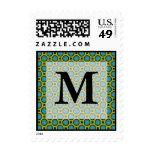 Monogram Turquoise Green Stamps