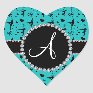 Monogram turquoise gymnastics hearts bows heart sticker