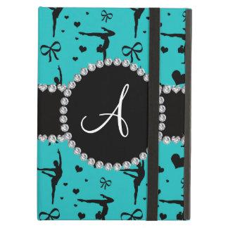 Monogram turquoise gymnastics hearts bows iPad air cases