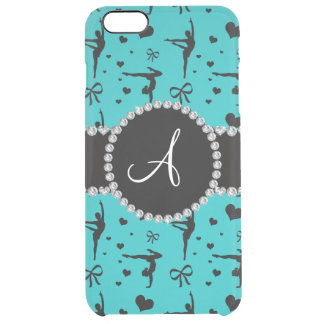 Monogram turquoise gymnastics hearts bows uncommon clearly™ deflector iPhone 6 plus case