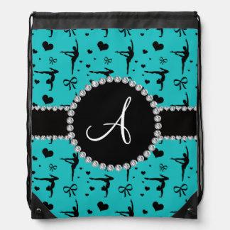 Monogram turquoise gymnastics hearts bows drawstring bag