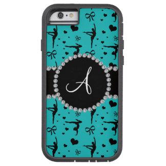 Monogram turquoise gymnastics hearts bows tough xtreme iPhone 6 case