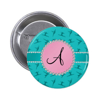 Monogram turquoise gymnastics pink circle buttons