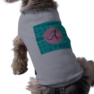 Monogram turquoise gymnastics pink circle dog tee shirt