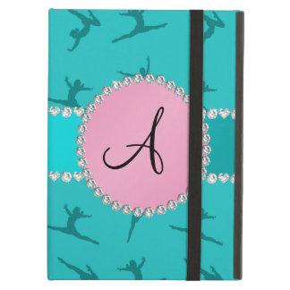 Monogram turquoise gymnastics pink circle iPad air covers