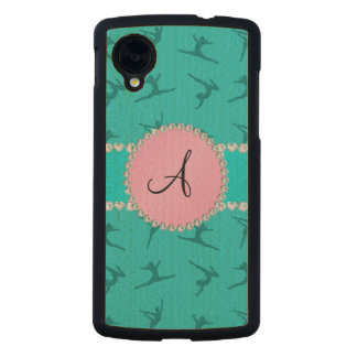 Monogram turquoise gymnastics pink circle carved® maple nexus 5 slim case