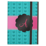 Monogram turquoise hearts and dots iPad cases